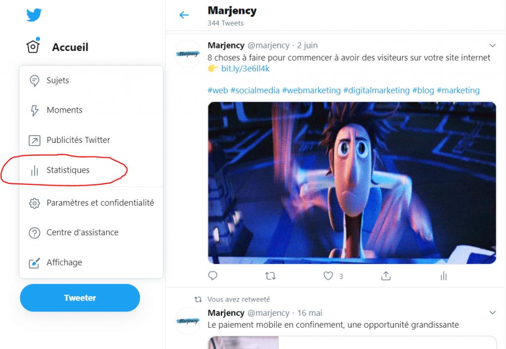 Marjency - le mode d'emploi Twitter pour les statistiques