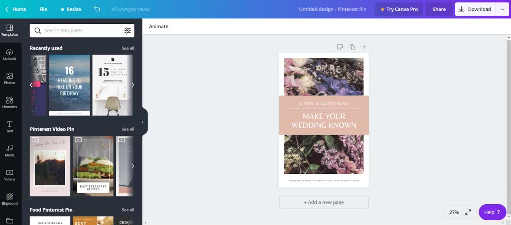 Marjency - créer une épingle Pinterest sur Canva